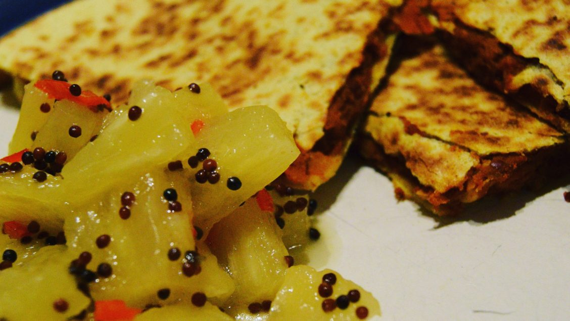 Smoky Bean Quesadillas with Pineapple Salsa